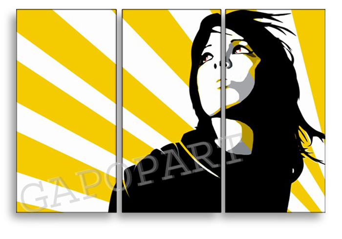 Рачно сликани слики на платно POP Art Woman in SUn 3-делна 120x80cm