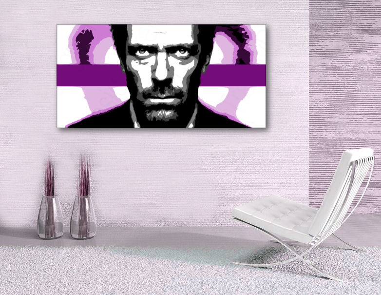 Рачно сликани слики на платно POP Art Dr. HOUSE 1-делна 60x120cm