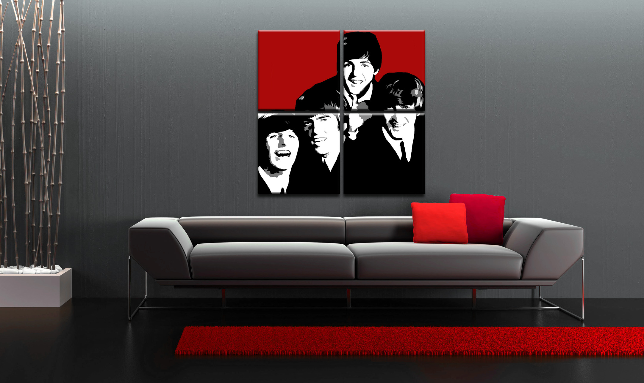 Рачно сликани слики на платно POP Art BEATLES 4-делна 100x100cm
