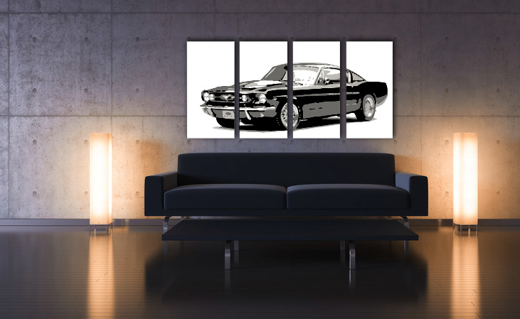 Рачно сликани слики на платно POP Art Ford Mustang 4-делна 160x80cm