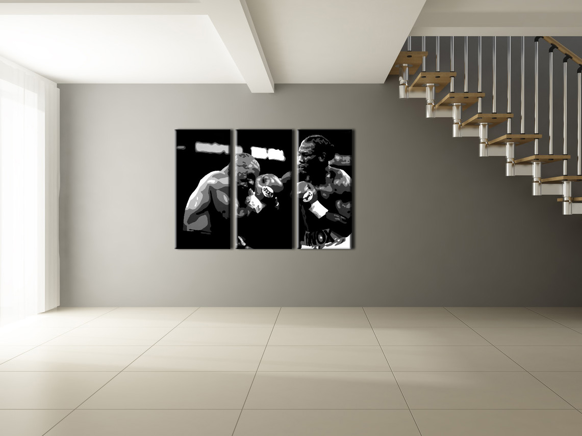Рачно сликани слики на платно POP Art Tyson vs. Lewis 3-делна 120x80