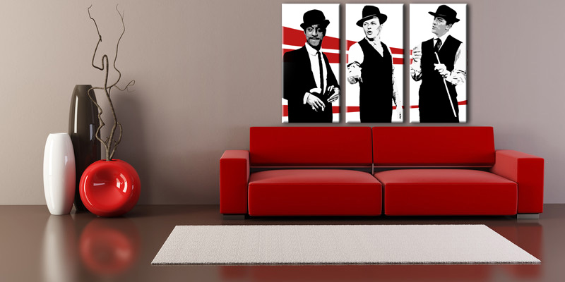 Рачно сликани слики на платно POP Art Rat Pack 3-делна 120x80cm