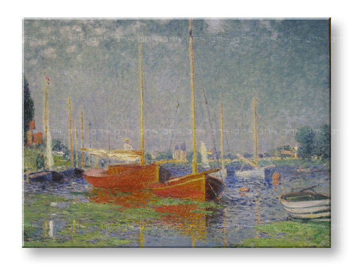 Слики на платно RED BOATS AT ARGENTEUIL – Claude Monet