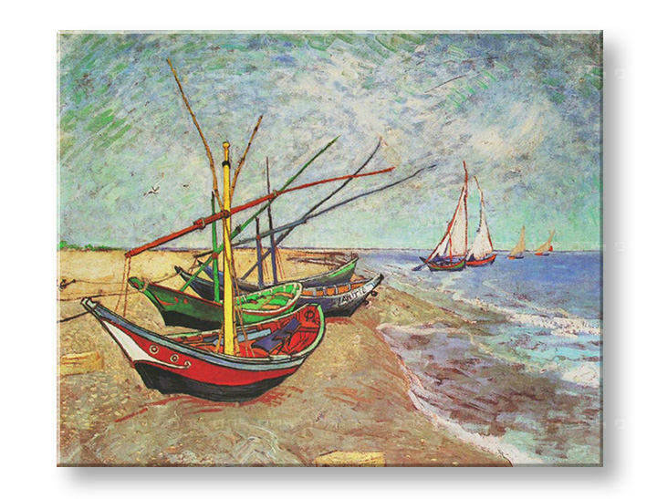 Слики на платно FISHING BOATS ON THE BEACH AT SAINTS-MARIES – Vincent van Gogh