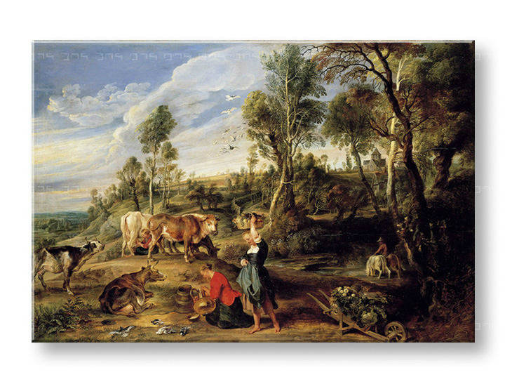 Слики на платно MILKMAIDS WITH CATTLE IN A LANDCAPE – Peter Paul Rubens