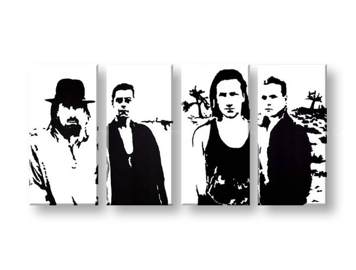 Рачно сликани слики на платно POP Art U2 in Black 4-делна 160x80cm