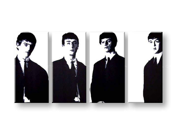 Рачно сликани слики на платно POP Art BEATLES 4-делна 160x80cm