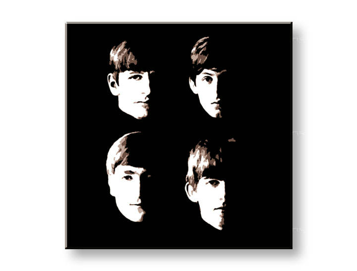 Рачно сликани слики на платно POP Art BEATLES 1-делна 100x100cm