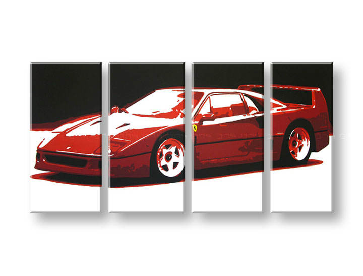 Рачно сликани слики на платно POP Art FERRARI F40 4-делна 160x80cm