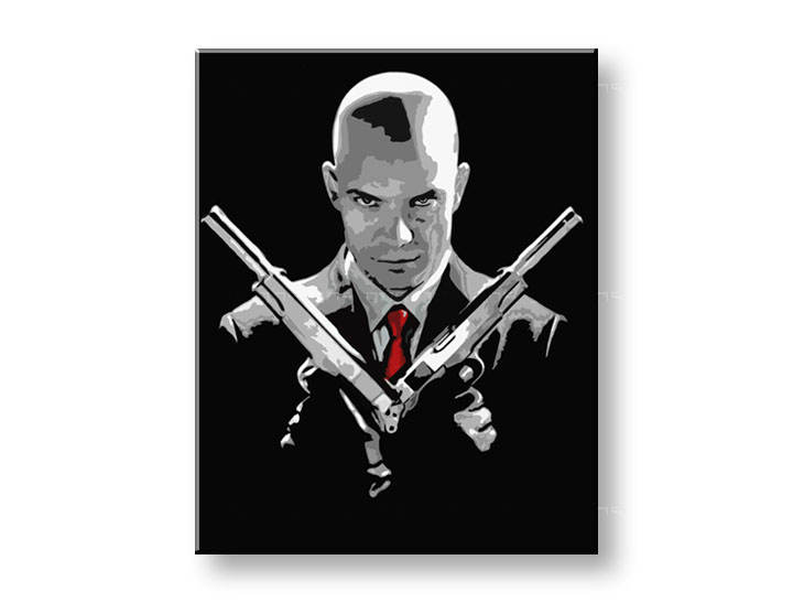 Рачно сликани слики на платно POP Art HITMAN 80x100 cm