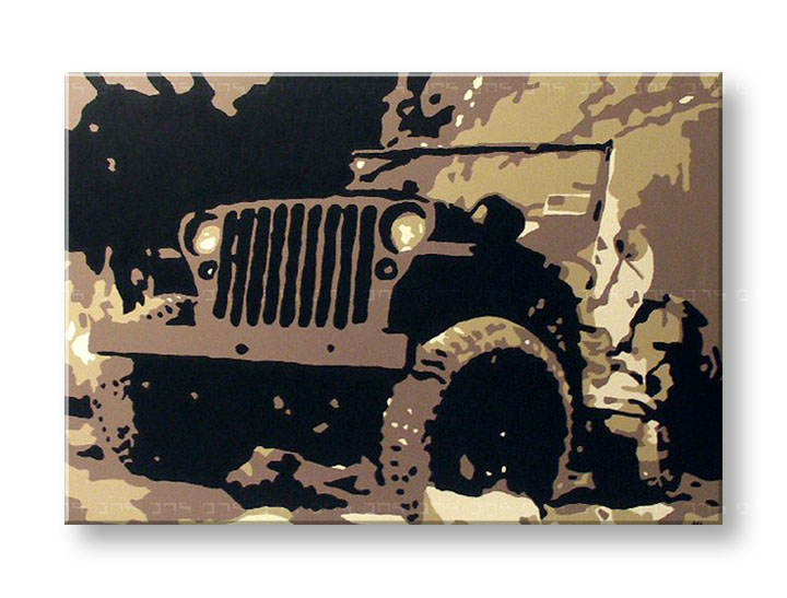 Рачно сликани слики на платно POP Art JEEP 1-делна 120x80cm