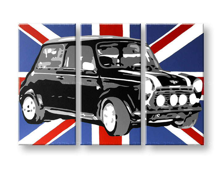 Рачно сликани слики на платно POP Art MINI COOPER 3-делна 120x80cm
