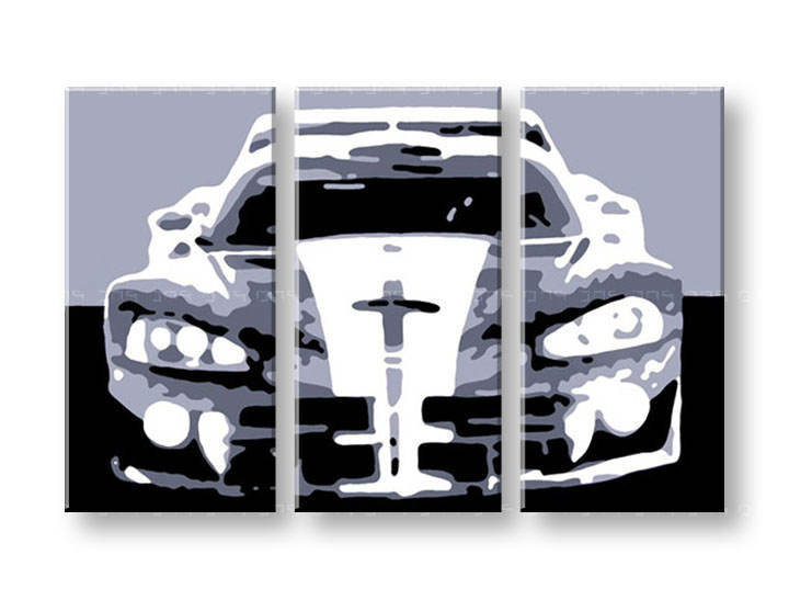 Рачно сликани слики на платно POP Art Dodge Viper GTS 3-делна 120x80